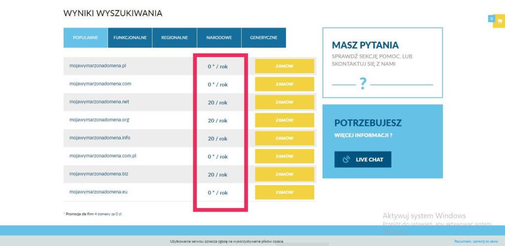 przykładowy cennik domen na stronie lh.pl